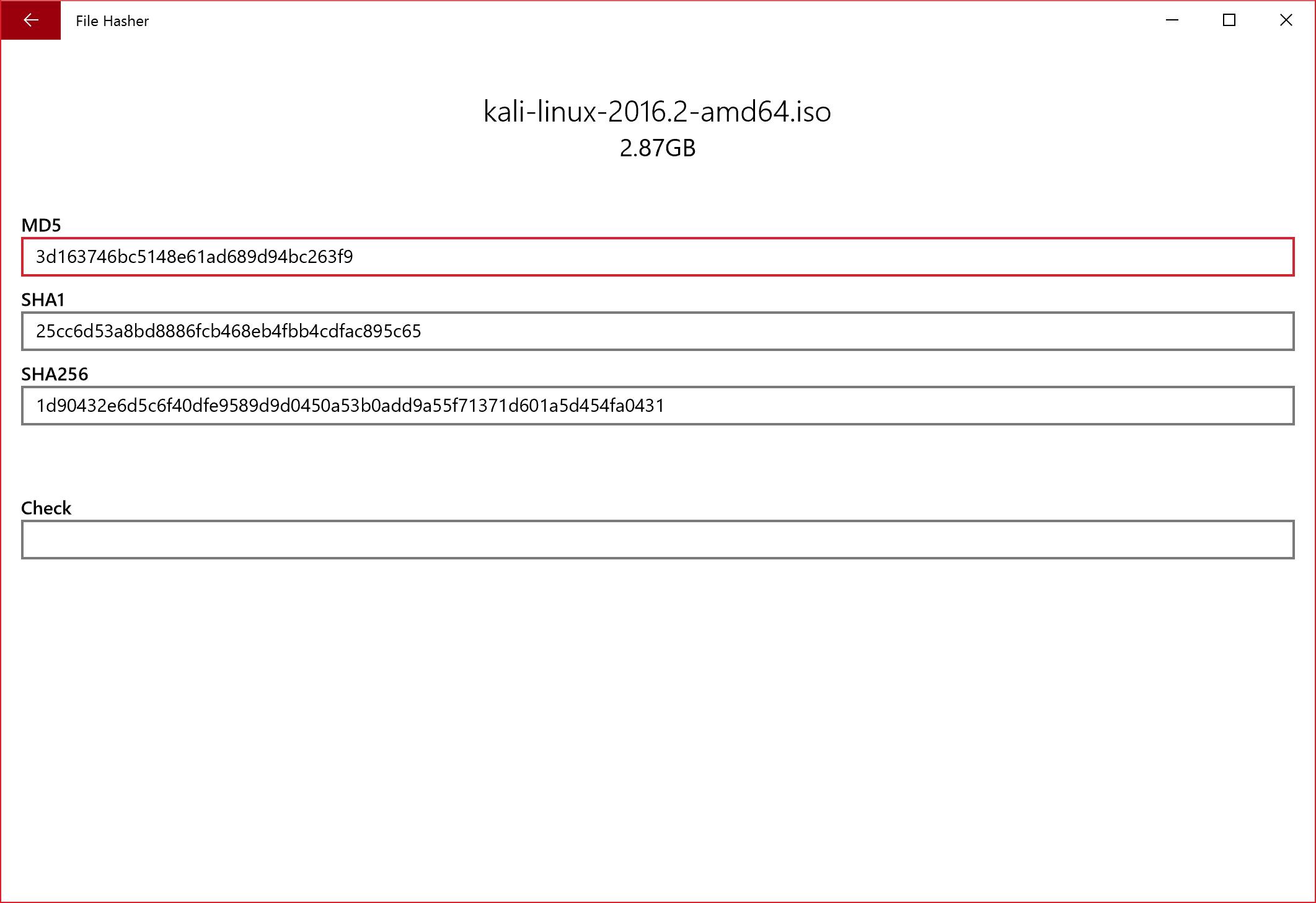 UWP] File Hasher, a file checksum calculator - Windows